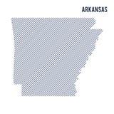 Wektorowy abstrakt kluł się mapę stan Arkansas z pochylonymi liniami odizolowywać na białym tle Zdjęcie Stock
