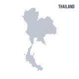 Wektorowy abstrakt kluł się mapę Tajlandia z pochylonymi liniami odizolowywać na białym tle royalty ilustracja
