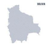 Wektorowy abstrakt klująca się mapa Boliwia z spiral liniami odizolowywać na białym tle Zdjęcie Stock