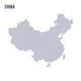 Wektorowy abstrakt klująca się mapa Chiny z spiral liniami odizolowywać na białym tle Obraz Stock