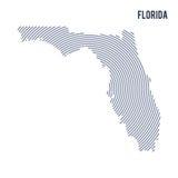 Wektorowy abstrakt klująca się mapa stan Floryda z spiral liniami odizolowywać na białym tle Zdjęcia Stock
