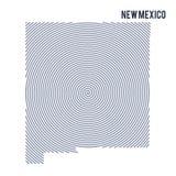 Wektorowy abstrakt klująca się mapa stan Nowy - Mexico z spiral liniami odizolowywać na białym tle Obrazy Stock