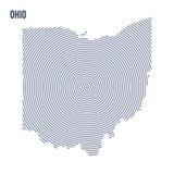 Wektorowy abstrakt klująca się mapa stan Ohio z spiral liniami odizolowywać na białym tle Zdjęcia Stock