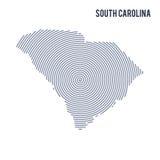 Wektorowy abstrakt klująca się mapa stan Południowa Karolina z spiral liniami odizolowywać na białym tle Obraz Royalty Free