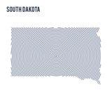 Wektorowy abstrakt klująca się mapa stan Południowy Dakota z spiral liniami odizolowywać na białym tle Obrazy Royalty Free