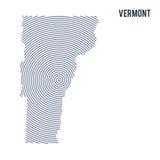 Wektorowy abstrakt klująca się mapa stan Vermont z spiral liniami odizolowywać na białym tle Obraz Royalty Free