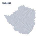 Wektorowy abstrakt klująca się mapa Zimbabwe z spiral liniami odizolowywać na białym tle Zdjęcia Royalty Free