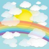 Wektorowy abstrakta papier chmurnieje, słońce i tęcza w niebieskim niebie Fotografia Royalty Free