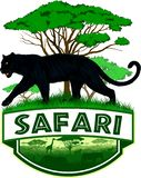 Wektorowy afrykański sawanna safari emblemat z czarną panterą royalty ilustracja