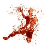 Wektorowy akwareli nakreślenie handball gracz Obrazy Stock