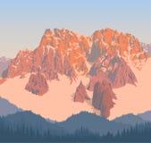 Wektorowy alps gór tło z błękitnym lasem ilustracja wektor
