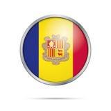 Wektorowy Andorran flaga guzik Andorra flaga w szklanym guzika stylu Obraz Stock