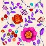 Wektorowy Antyczny Orientalny ludowy motyw kwiaty Manton chusta, hiszpańszczyzny Manila flamenco dekoracyjny hafciarski ornament  Obraz Stock