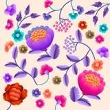 Wektorowy Antyczny Orientalny ludowy motyw kwiaty Manton chusta, hiszpańszczyzny Manila flamenco dekoracyjny hafciarski ornament  Zdjęcia Stock