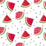 Wektorowy arbuzów plasterków wzór lato świeża ilustracja Smakowita dekoraci tekstura Jagodowa deserowa owoc świeżość ilustracji