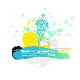 Wektorowy artystyczny Rytmiczny Gimnastyczny balowy nakreślenie sztandar Ilustracji