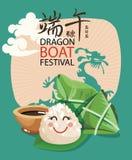 Wektorowy Azja Wschodnia smoka łodzi festiwal Chiński tekst znaczy smok łodzi festiwal w lecie Chiński ryżowy kluchy postać z kre ilustracja wektor