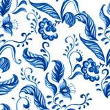 Wektorowy Błękitny Bezszwowy kwiecistego ornamentu wzór Ilustracji