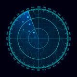 Wektorowy błękitny ekran radaru Militarny rewizja system Futurystyczny HUD radarowy pokaz Futurystyczny Hud interfejs ilustracja wektor