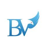 Wektorowy Błękitny jastrzębia inicjału BV logo Fotografia Stock