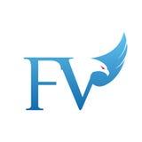 Wektorowy Błękitny jastrzębia inicjału FV logo Zdjęcia Royalty Free