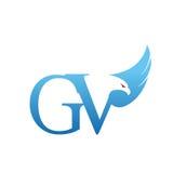 Wektorowy Błękitny jastrzębia inicjału GV logo Zdjęcia Royalty Free