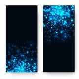 Wektorowy błękitny rozjarzony lekki błyskotliwości tło Magia jarzeniowy lekki skutek Gwiazdowy wybuch z błyska na ciemnym tle ilustracja wektor