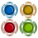 Wektorowy błyszczący kolor zapina z metali elementami, czerwień, zieleń, błękitna Obraz Stock