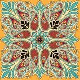 Wektorowy bandana druk z Paisley ornamentem Bawełniany lub jedwabniczy chustka na głowę, chustka kwadrata wzoru projekt, oriental Zdjęcia Stock