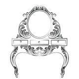 Wektorowy Barokowy meblarski Opatrunkowy stół Zdjęcie Stock