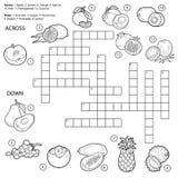 Wektorowy bezbarwny crossword, gra dla dzieci o owoc royalty ilustracja