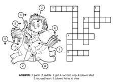 Wektorowy bezbarwny crossword Mała dziewczynka na koniu royalty ilustracja
