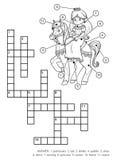 Wektorowy bezbarwny crossword Princess i koń royalty ilustracja