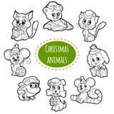 Wektorowy bezbarwny set Bożenarodzeniowi śliczni zwierzęta royalty ilustracja