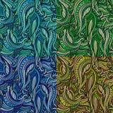 Wektorowy bezszwowy abstrakcjonistyczny natura wzoru set Zdjęcie Royalty Free