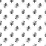 Wektorowy bezszwowy abstrakta wzór z kropkowanymi sześcianami na białym tle Obraz Stock