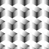 Wektorowy bezszwowy abstrakta wzór z kropkowanymi sześcianami na białym tle Zdjęcia Stock