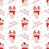 Wektorowy bezszwowy boże narodzenie wzór Śliczne kreskówek świnie na białym tle royalty ilustracja