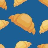 Wektorowy bezszwowy croissant wzór na błękitnym tle Projekt dla kart, menu, tkanina, tkanina Ilustracji