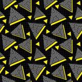Wektorowy Bezszwowy Czarny Biały Żółty roczników 80's trójboka bigosu linii wzór na Kwadratowej siatce Fotografia Stock