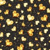 Wektorowy bezszwowy czarny glansowany tło z 3d złocistymi kierowymi diamentami, klejnoty, klejnoty Obrazy Stock