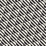 Wektorowy bezszwowy czarny i biały halftone wykłada siatka wzór Abstrakcjonistyczny geometryczny tło projekt Obrazy Royalty Free