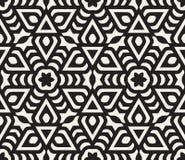 Wektorowy Bezszwowy Czarny I Biały Zaokrąglony Gwiazdowy Kwiecisty orientał linii wzór royalty ilustracja