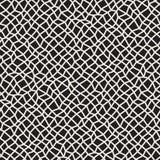 Wektorowy Bezszwowy Czarny I Biały Zniekształcający prostokąt mozaiki siatki wzór Obrazy Royalty Free