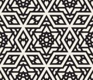 Wektorowy Bezszwowy Czarny I Biały Heksagonalny Gwiazdowy Islamski Ornamentacyjny wzór Obrazy Stock