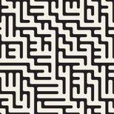 Wektorowy Bezszwowy Czarny I Biały Zaokrąglony Nieregularny labirynt linii wzór Zdjęcia Royalty Free