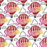 Wektorowy Bezszwowy Deseniowy gorące powietrze balonu i lato ręki wpisowy literowanie z chmurą na białym tle zdjęcia stock