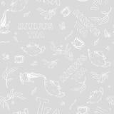 Wektorowy bezszwowy deseniowy nakreślenie rzeczy walka i literowanie na szarym tle Rooibos herbata od czajnika nalewającego royalty ilustracja
