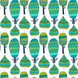 Wektorowy bezszwowy deseniowy plemienny liść i drzewa Plemienny lasu wzór Natury tło, częstotliwy tło royalty ilustracja