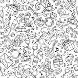 Wektorowy bezszwowy doodles walentynki ` s wzór ilustracja wektor
